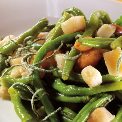 green beans fresh sage and pears